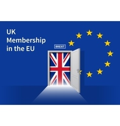 Brexit Door with UK flag on EU background vector image