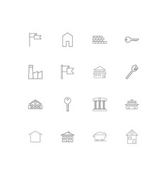 Buildings and constructions simple linear icons vector