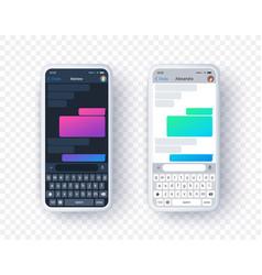 Chat app screen in light and dark mode gradient vector