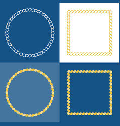 Circle rope frame border vector
