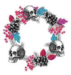 circular frame skull cone rowanberry leaves vector image