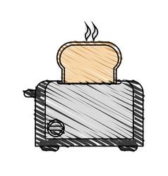 color crayon stripe cartoon electric bread toaster vector image