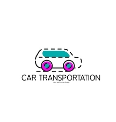 Color line icon for flat design Car vector image