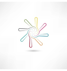 Colored spoons in circle vector image