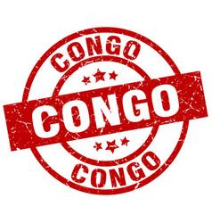 Congo red round grunge stamp vector