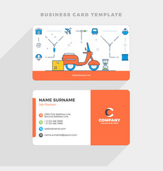 creative business card template with flat line vector image