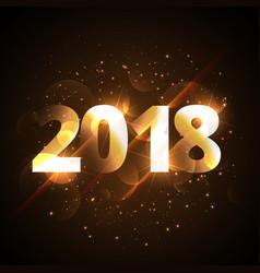 creative shiny happy new year 2018 golden vector image