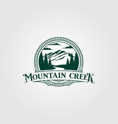 Creek and mountain vintage logo design vintage vector
