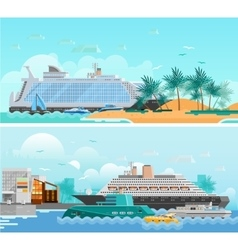 Cruise Vacation Flat Horizontal Banners Set vector
