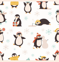 cute cartoon penguin seamless pattern funny vector image