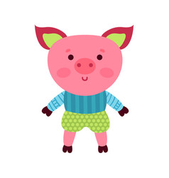 cute cartoon pig animal toy colorful vector image