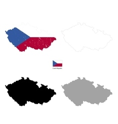 czech republic country black silhouette vector image