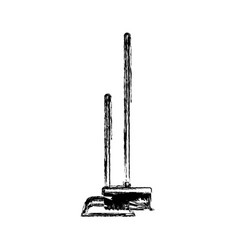 dustpan and broom in monochrome blurred silhouette vector image