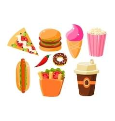 Fast Food Items Set Of Isolated Icons vector