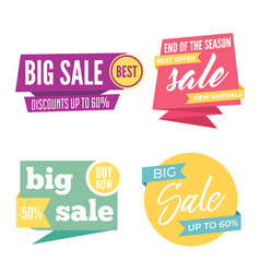 flat colorful shaped banners price tags stickers vector image