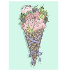 Flowers bouquet in ice cream cone with ribbon vector