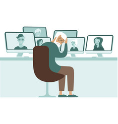 frustrated old teacher have lesson online vector image