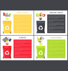 Glass metal organic and e-waste colorful poster vector