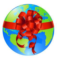 Globe world gift bow concept vector