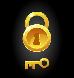 gold round lock and key icons vector image