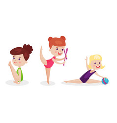 Gymnastic and stretching exercises by three little vector