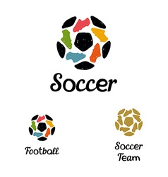 Hand drawn logo soccer ball and football boots vector