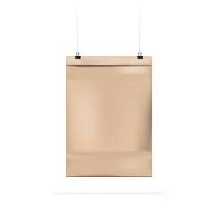 hanging brown blank craft paper bag for takeaway vector image