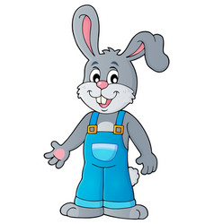 Happy bunny in overalls vector