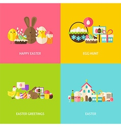 Happy easter greetings flat concepts set vector