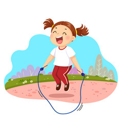 happy little girl jumping rope in vector image