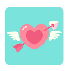 heart with arrow flat icon vector image