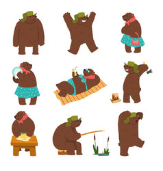 humanized bear characters set male and female vector image