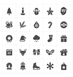 icon set - christmas filled icon style vector image