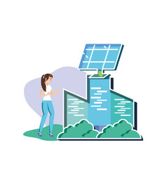 Isolated avatar woman and eco city design vector