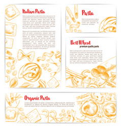Italian pasta macaroni product poster template vector