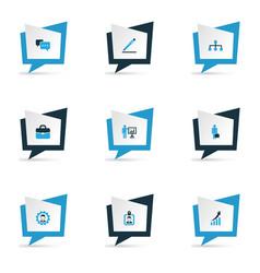 Job icons colored set with handbag network vector