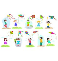 kids kite child character boy and girl vector image