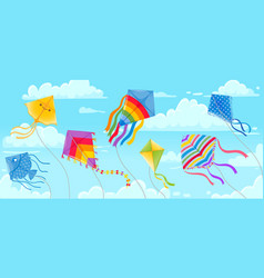 kites in sky summer blue skies and clouds with vector image