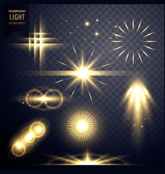 Lens flares transparent light effect sparkles vector