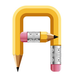 Letter a pencil icon cartoon style vector