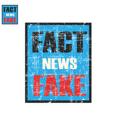 lettering fake or fact news propaganda post vector image