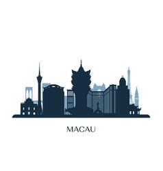 macau skyline monochrome silhouette vector image
