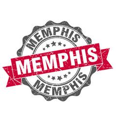 memphis round ribbon seal vector image