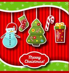 Merry christmas congratulation decorative card vector