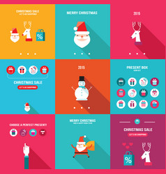 merry christmas happy new year holiday banner set vector image