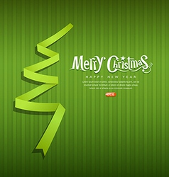 Merry Christmas origami green ribbons paper vector image