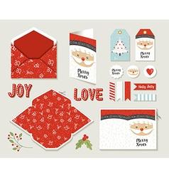 Merry christmas set printable greeting card cute vector