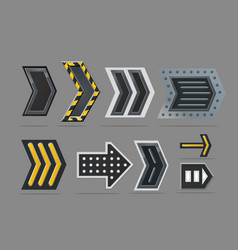 metal arrow set navigation signs collection vector image