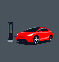 modern suv electric car is charging at charge vector image