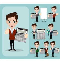 Portrait Of Happy Accountant set vector